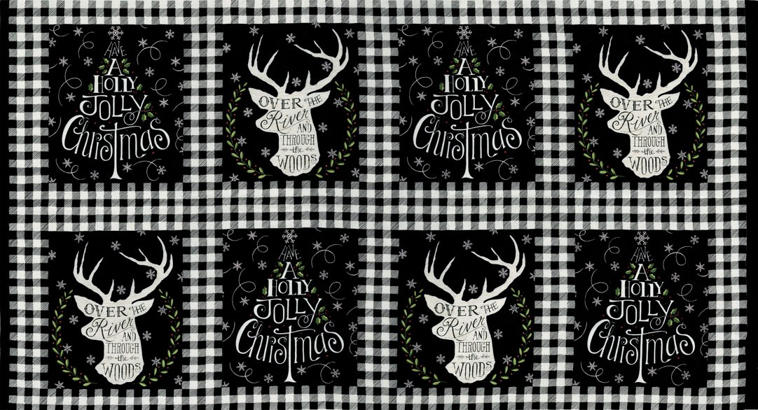 Hearthside Holiday Panel 19830-13 Charcoal Black from Deb Strain for Moda