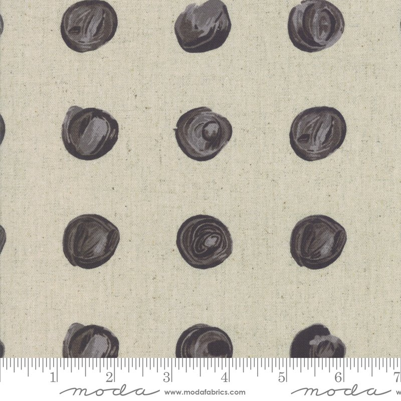 Chill Mochi Linen 1717-12LM Charcoal Dot from Zen Chic for Moda