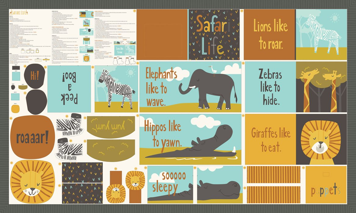 Safari Life Book Panel 20641-11 by Stacy Iest Hsu for Moda