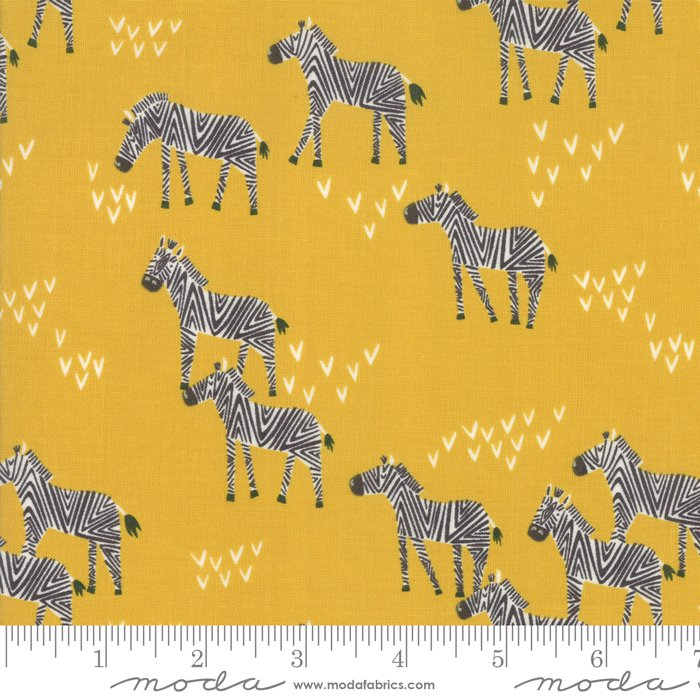 Safari Life 20645-18 Zebras Dijon by Stacy Iest Hsu for Moda