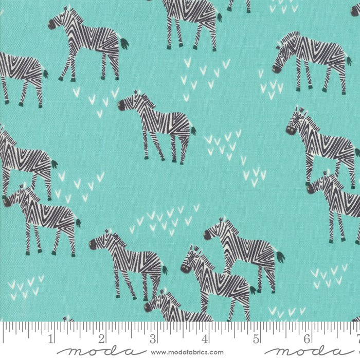 Safari Life 20645-20 Zebras Aqua by Stacy Iest Hsu for Moda