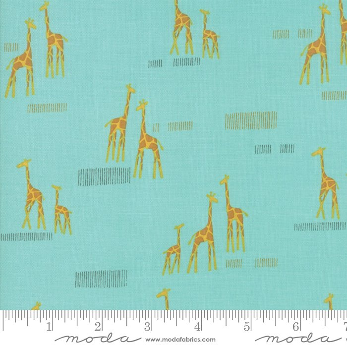 Safari Life 20647-20 Giraffes Aqua by Stacy Iest Hsu for Moda