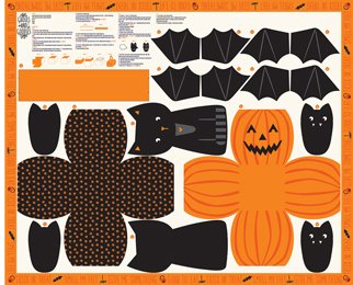 Ghouls Goodies Pumpkin Tote Panel by Stacy Iest Hsu for Moda