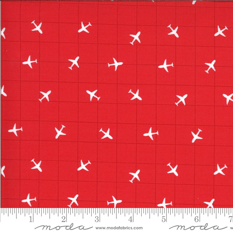 On The Go 20726-16 Red Light Airplane Grid for Moda