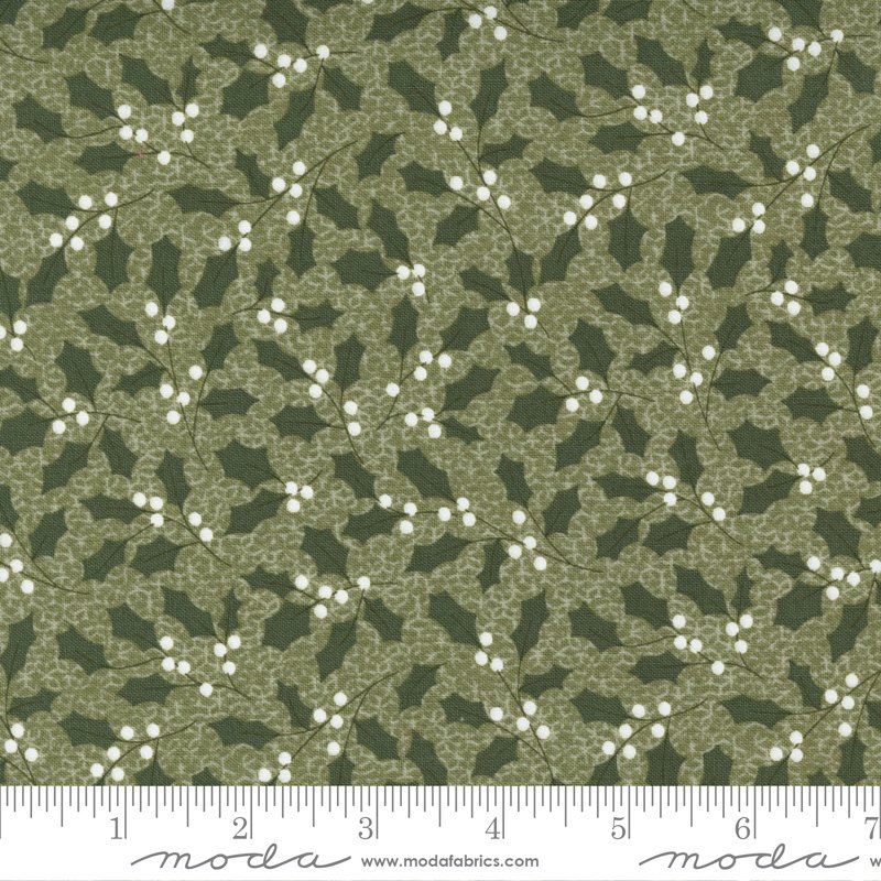Christmas Morning 5142-15 Holly on Pine by Lella Boutique for Moda