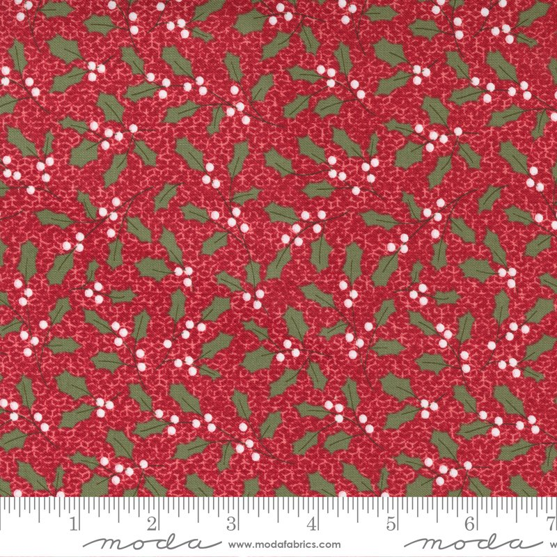 Christmas Morning 5142-16 Holly on Cranberry by Lella Boutique for Moda