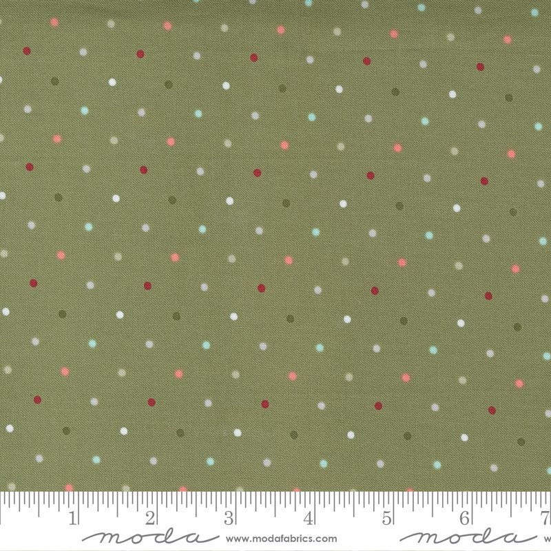 Christmas Morning 5147-15 Dots Pine by Lella Boutique for Moda