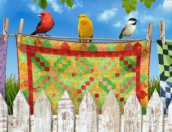 Birds on Quilts 11 Stripe CD-7702 Multi Timeless Treasures