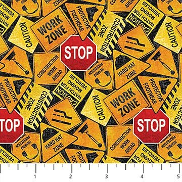 Construction Zone Tossed Signs 23263-99 by Kim Peers-Moore for Northcott
