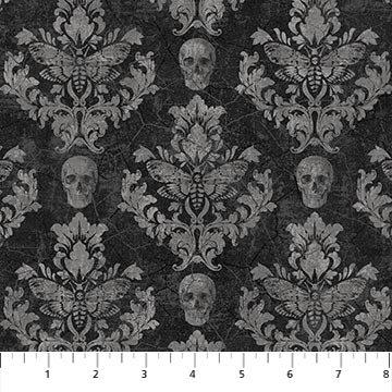 Wicked 23444-99 Skull Damask by Nina Djuric for Northcott