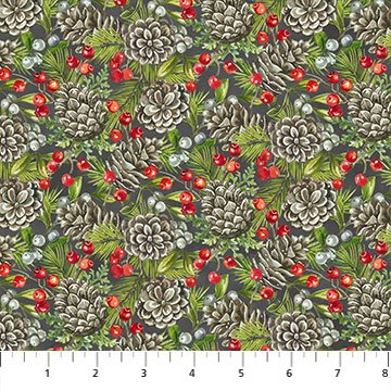 The Scarlet Feather 23478-96 Pinecones by Deborah Edwards for Northcott