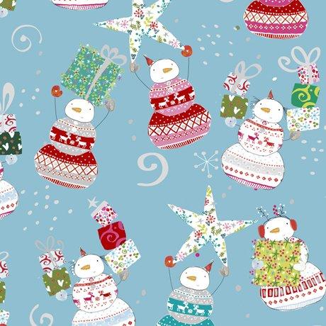 Happy Christmas 27257-B Snowmen Toss Blue by Turnowski for QT Fabrics
