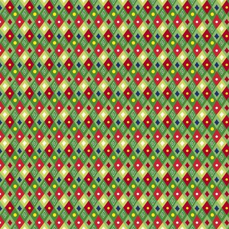 Happy Christmas 27259-G Mini Diamonds Green by Turnowski for QT Fabrics
