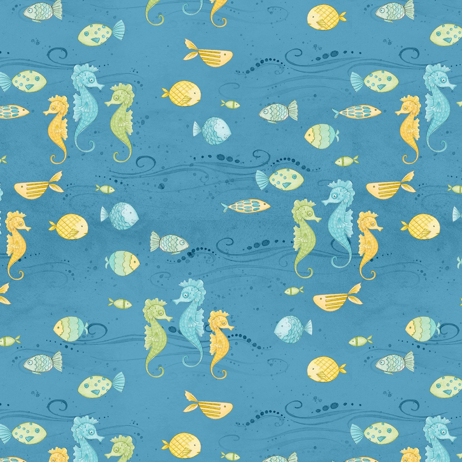 Water Wishes 27567-454 Blue/Green Fish by Danielle Leone for Wilmington Prints