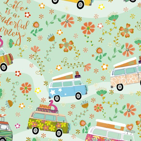 Road Trip 27969-H Flower Power Vans by Turnowsky for QT Fabrics