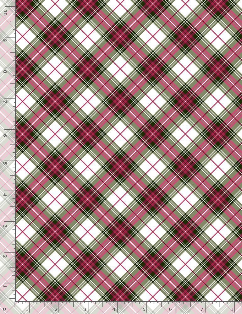 Metalic Bias Plaid Holiday-CM7763 Red from Timeless Treasures