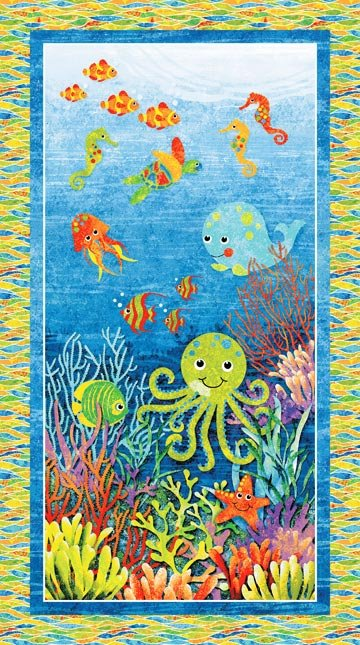3D Undersea Adventure Panel and 3D Glasses 39406-44 from Stonehenge Kids Northcott