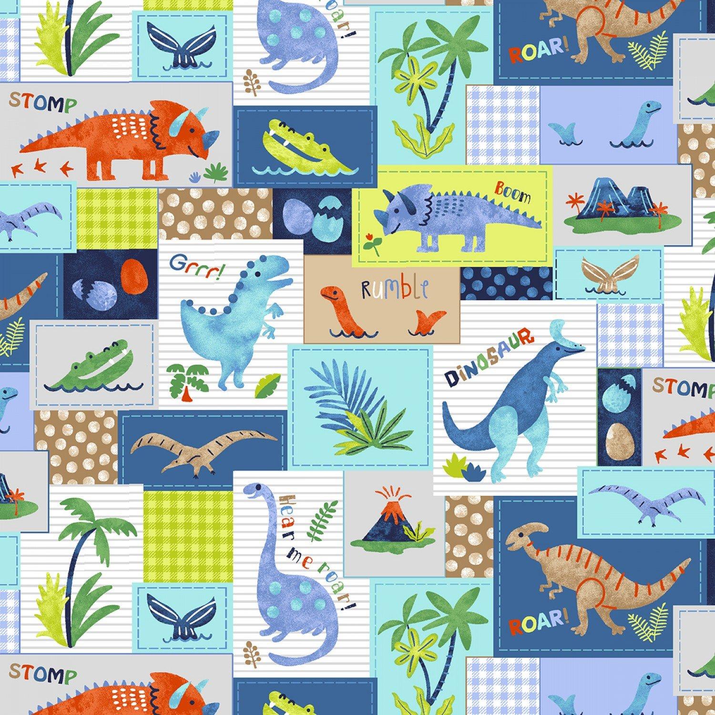 Hear Me Roar 4394S-17 Blue Dinosaur Patchwork