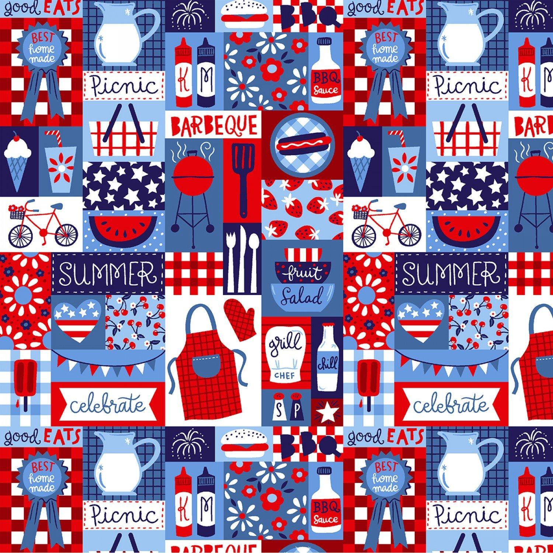 Patriotic Parade 4518S-18 Blue Patchwork Studio e