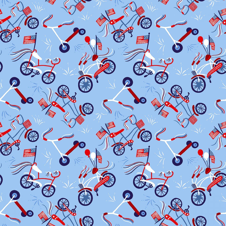 Patriotic Parade 4519S-11 Light Blue Bicycles Studio e