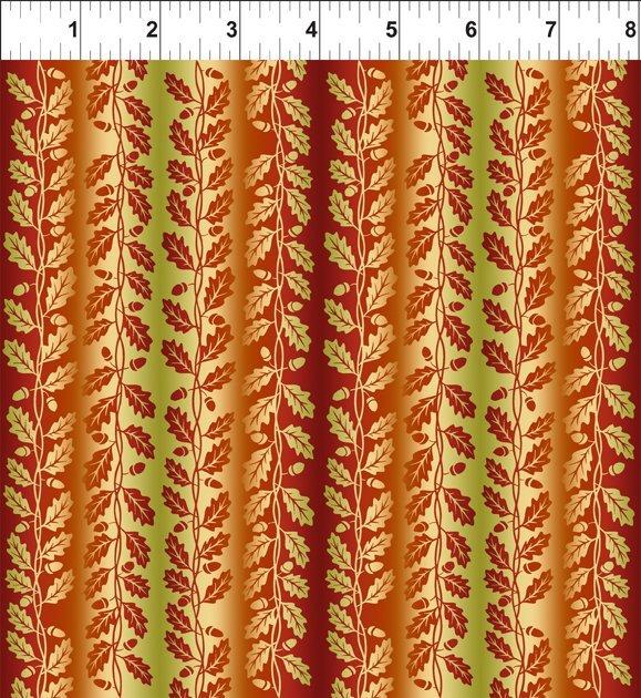 Our Autumn Friends 4OAF1 Vine Stripe Rust In The Beginning Fabrics