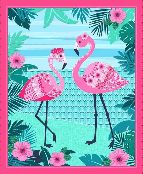 Flamingo Beach Panel 5028P-22 by Chelsea Design Works