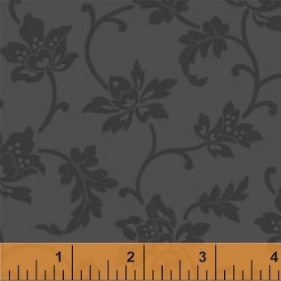 Color Wall 50654-5 Steel Jacobean Flower by Mary Koval for Windham