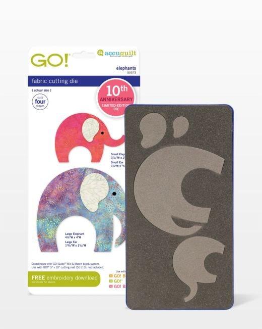 Accuquilt Go! Die Elephants 10th Anniversary Edition