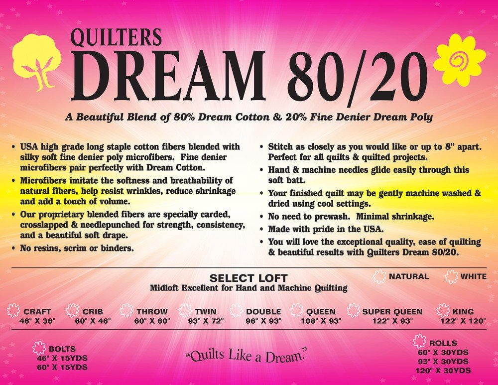 Batting - Throw 80/20 Select Natural Quilter's Dream