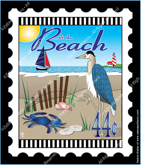 At the Beach Mini Stamp Fabric Panel 6 by 7