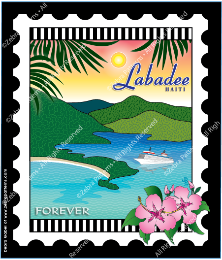 Labadee Port Mini Stamp Fabric Panel 6 by 7