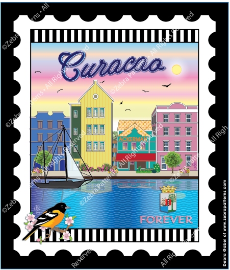 Curacao Port Mini Stamp Fabric Panel 6 by 7