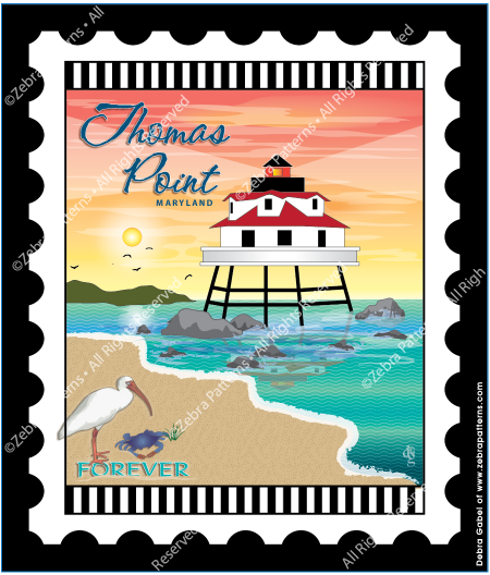 Thomas Point LIghthouse Mini Stamp Fabric Panel 6 by 7