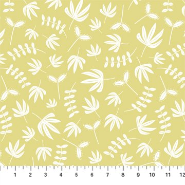 Hand Stitched 90396-52 Yellow by Karen Lewis for Figo Fabrics