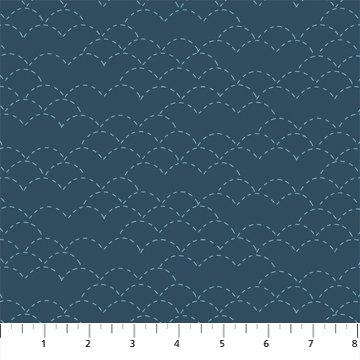 Hand Stitched 90398-45 Navy by Karen Lewis for Figo Fabrics