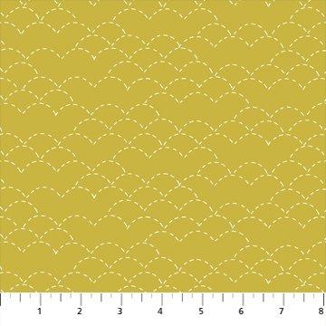 Hand Stitched 90398-55 Mustard by Karen Lewis for Figo Fabrics
