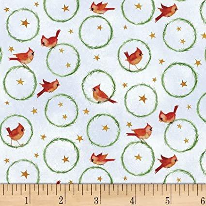 Winter Snowmen Wreaths 03080-MU Cardinal Birds for P&B Textiles