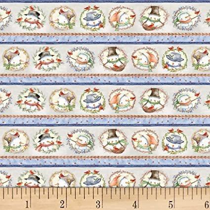Winter Snowmen Wreaths 03079-MU Stripe for P&B Textiles