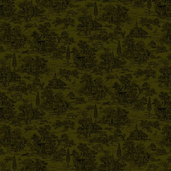 Farmhouse Christmas 9668-66 Green Toile by Kim Diehl for Henry Glass