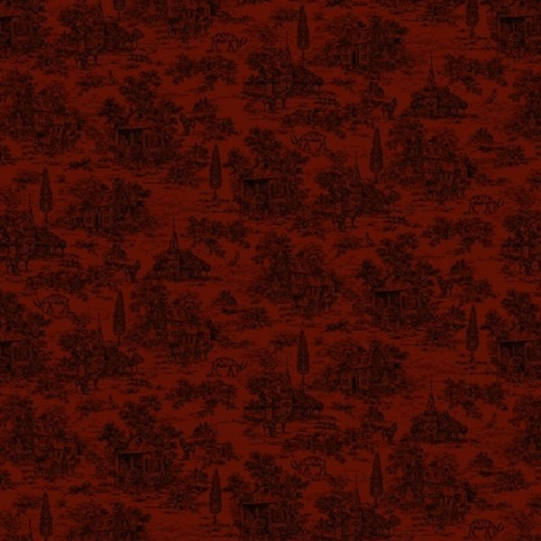 Farmhouse Christmas 9668-88 Red Toile by Kim Diehl for Henry Glass