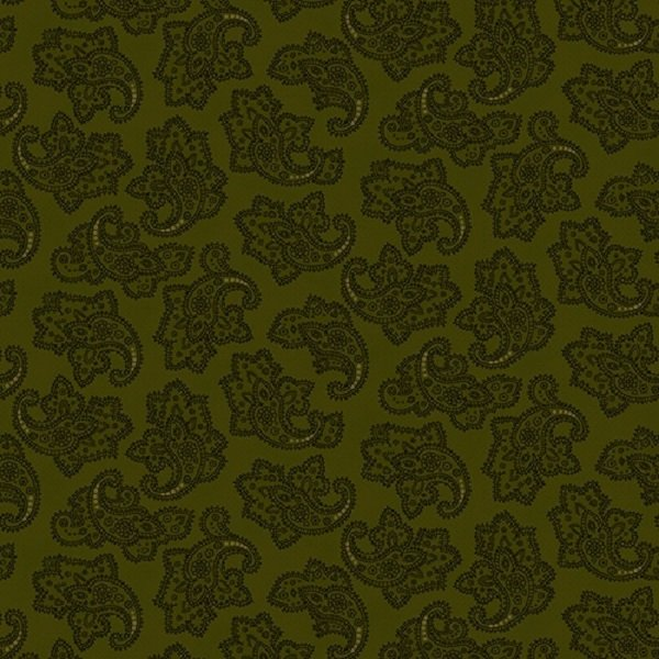 Farmhouse Christmas 9674-66 Green Delicate Paisley by Kim Diehl for Henry Glass