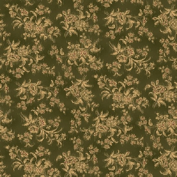 Farmhouse Christmas 9676-66 Green Stylized Floral by Kim Diehl for Henry Glass