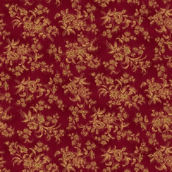 Farmhouse Christmas 9676-88 Red Stylized Floral by Kim Diehl for Henry Glass