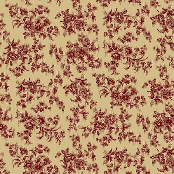 Farmhouse Christmas 9681-44 Red Delicate Floral by Kim Diehl for Henry Glass