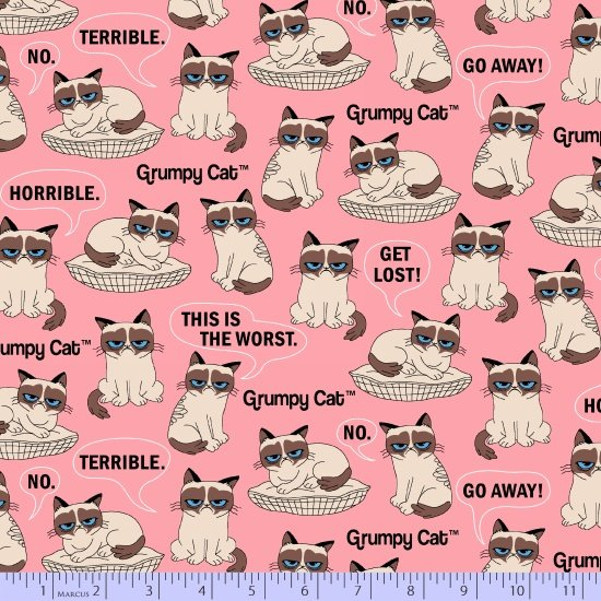 Grumpy Cat Flannel R10-9721-0226 from Marcus Fabrics