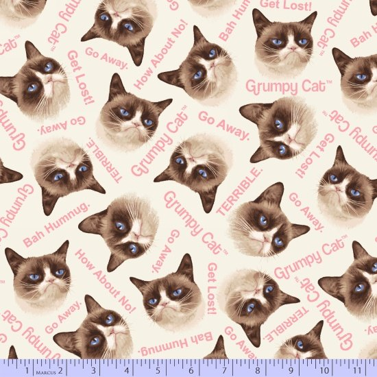 Grumpy Cat Flannel R10-9722-0242 from Marcus Fabrics
