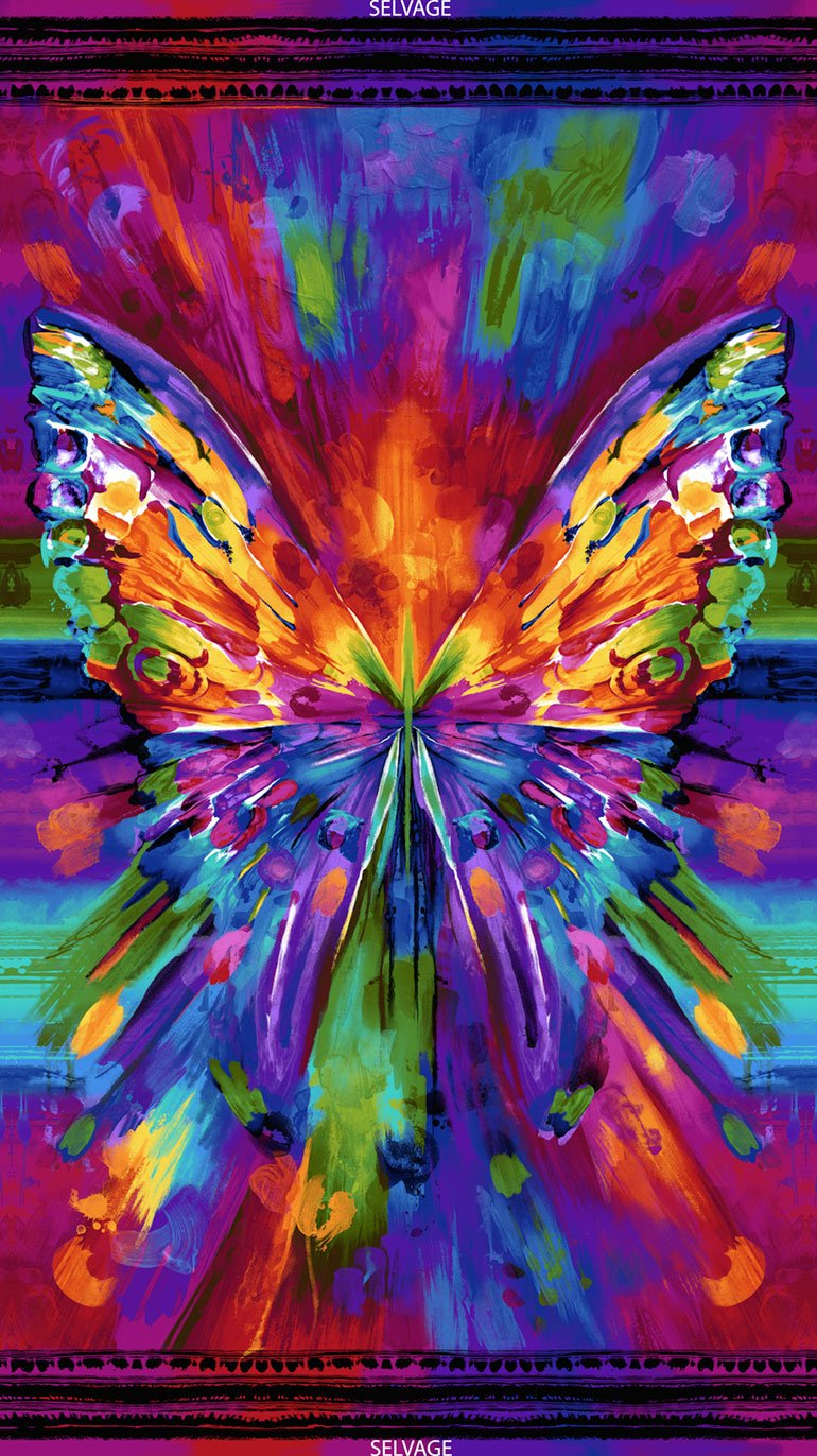 Awaken CD6550 Bright Abstract Butterfly Panel by Chong-a Hwang for Timeless Treasures