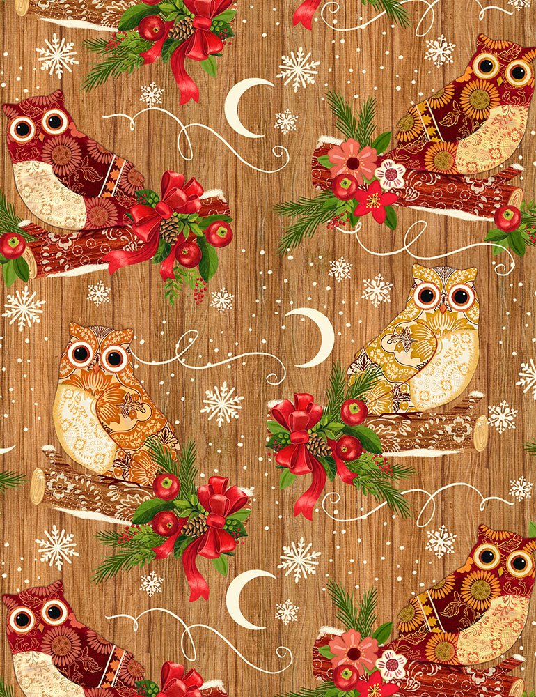 Christmas Owl Flannel CF6093 Coffee from Timeless Treasures