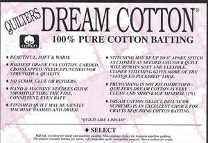 Batting - Twin Cotton Select Natural Quilter's Dream