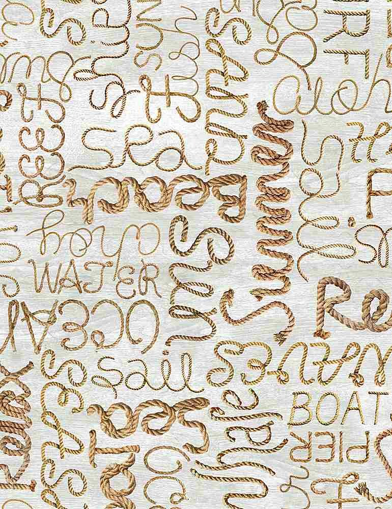Welcome to the Beach C8289 Rope Words from Timeless Treasures